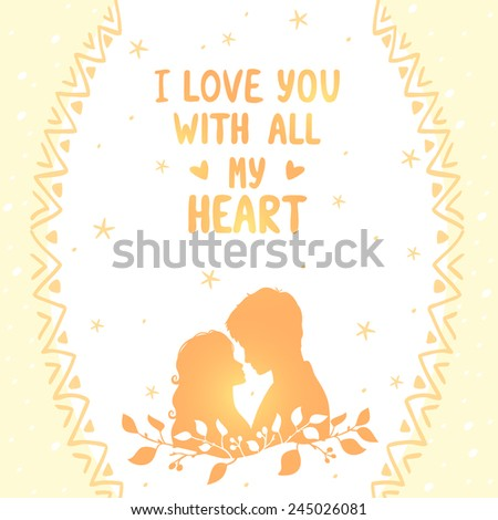illustration doodle silhouette card of loving couple with place for text