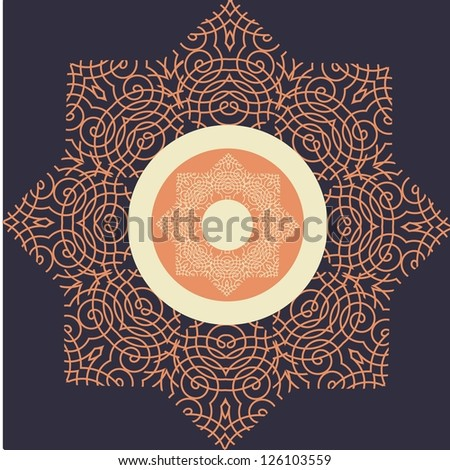 illustration drawing of ornamental frame vector format background - stock vector