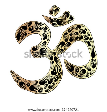 illustration drawn by hand OM symbol - stock vector