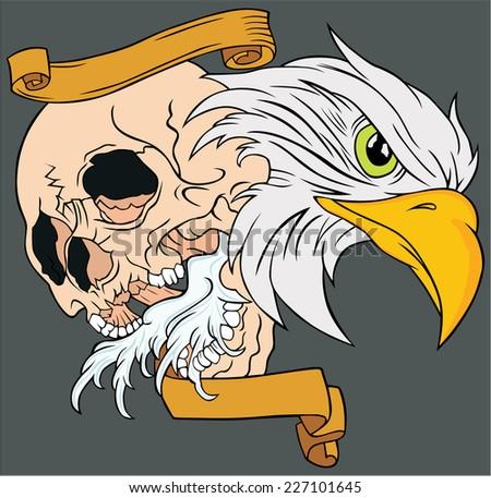 illustration eagle and skull - stock vector