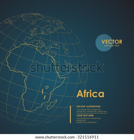 Illustration Earth map of Africa. Modern business line vector background - stock vector