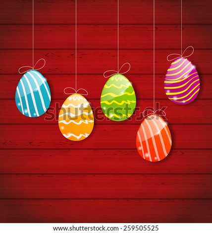Illustration Easter three ornamental colorful eggs on wooden background - vector - stock vector