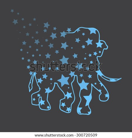 Illustration. Elephant with stars. Sketch. - stock vector