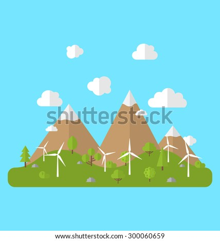 Illustration Environment with Wind Generators, Green Valley, Trees, Mountain, Blue Sky. Concept of Alternative Energy Sources - Vector - stock vector