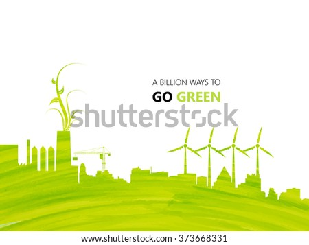 Illustration environmentally friendly planet.Green factory and city buildings, hand drawn from watercolor stains, isolated on a white background. Think Green. Eco Concept. - stock vector