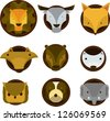 illustration Face animal Set - stock vector