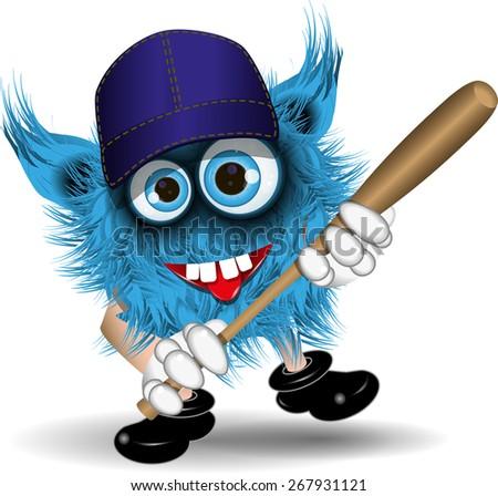 illustration fairy shaggy blue monster of baseball - stock vector