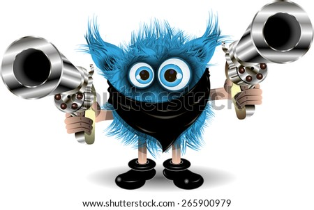 Illustration fairy shaggy blue Monster of the Crime - stock vector
