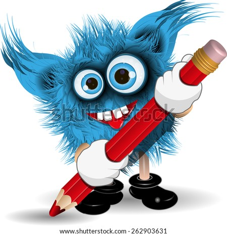 Illustration fairy shaggy blue monster with a Pencil - stock vector