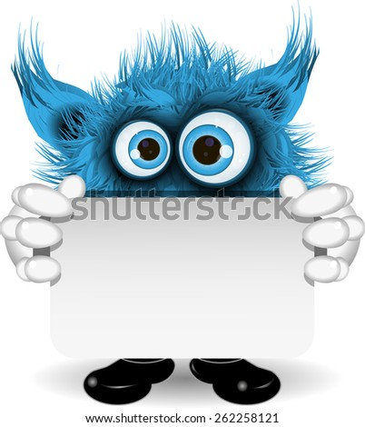 illustration fairy shaggy blue monster with blue eyes - stock vector