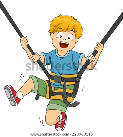 Illustration Featuring a Boy Bouncing Off a Trampoline - stock vector