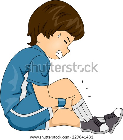 Illustration Featuring a Boy Having Leg Cramps - stock vector