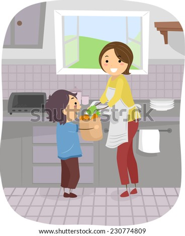 Illustration Featuring a Boy Helping His Mom in the Kitchen - stock vector