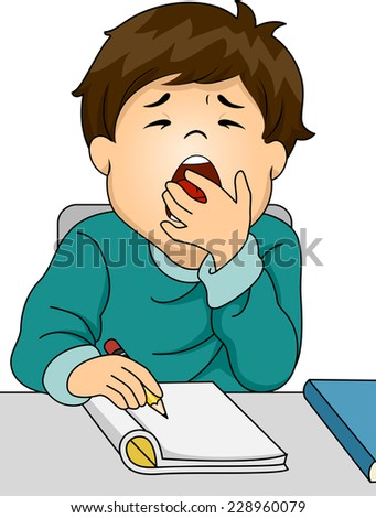 Illustration Featuring a Boy Letting Out a Big Yawn While Studying - stock vector