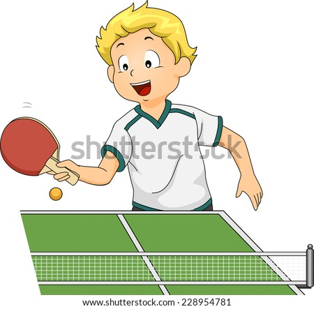 Illustration Featuring a Boy Playing Table Tennis - stock vector