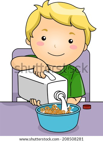 Illustration Featuring a Boy Pouring Milk on His Cereal - stock vector