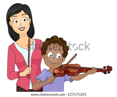 Illustration Featuring a Boy Taking Violin Lessons - stock vector