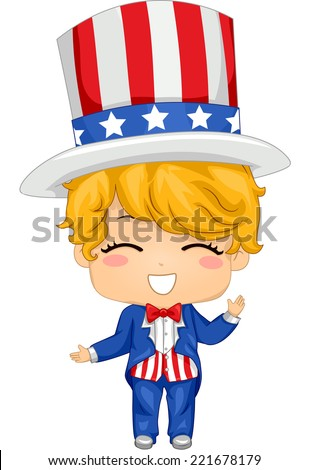 Illustration Featuring a Boy Wearing a Fourth of July Inspired Costume - stock vector