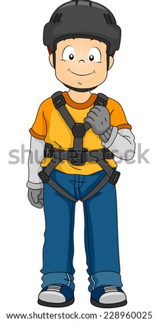 Illustration Featuring a Boy Wearing Safety Gear - stock vector