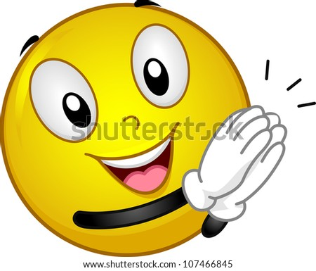 Illustration Featuring a Clapping Smiley - stock vector