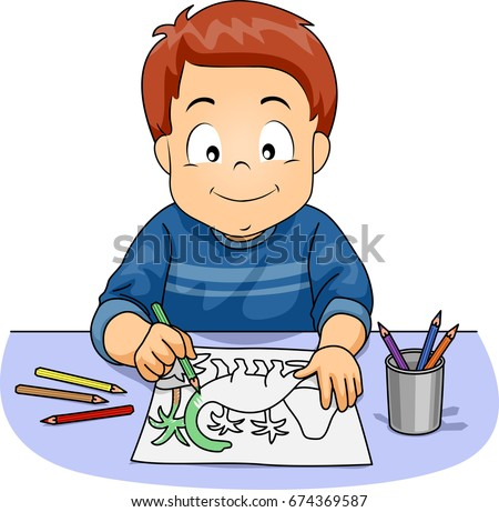 illustration featuring a cute little boy coloring a dinosaur using a colored pencil