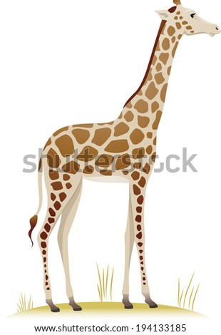 Illustration Featuring a Giraffe Standing on a Patch of Dry Grass