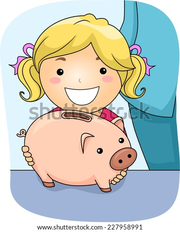 Illustration Featuring a Girl Holding a Piggy Bank
