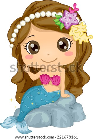 Illustration Featuring a Girl Wearing a Mermaid Costume - stock vector
