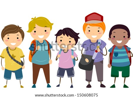 Illustration Featuring a Group of Boys with Varying Ages - stock vector