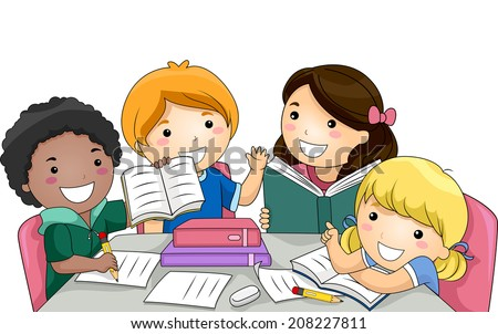 Illustration Featuring a Group of Kids Studying Together - stock vector