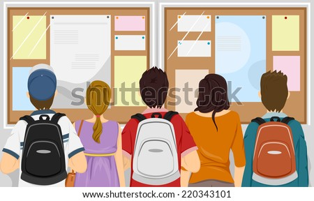 Illustration Featuring a Group of Students Gathered in Front of a Bulletin Board - stock vector