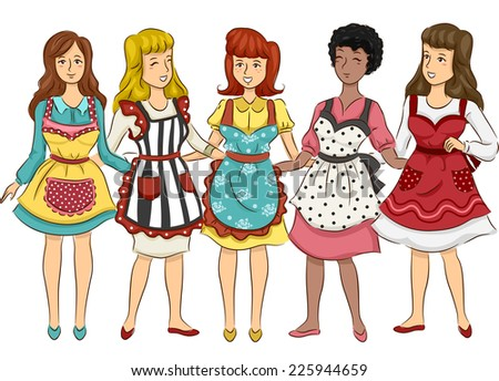 Illustration Featuring a Group of Women Wearing Aprons with Retro Designs - stock vector