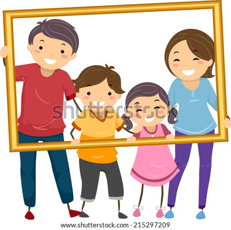 Illustration Featuring a Happy Family Holding a Hollow Frame - stock vector