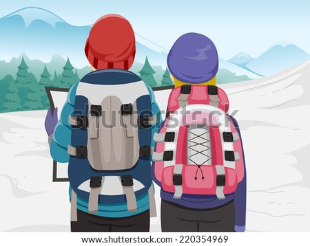 Illustration Featuring a Hiking Couple Examining a Travel Map - stock vector