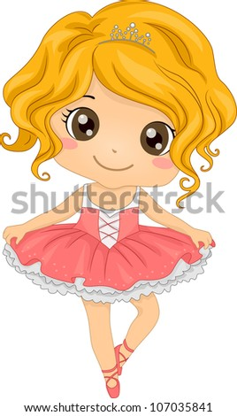Illustration Featuring a Little Ballerina - stock vector