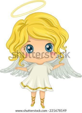 Illustration Featuring a Little Girl Dressed as an Angel - stock vector