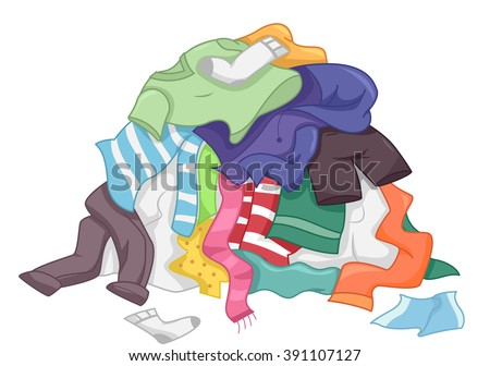 illustration featuring messy pile dirty laundry stock vector rh shutterstock com Laundry Room Stack of Folded Laundry