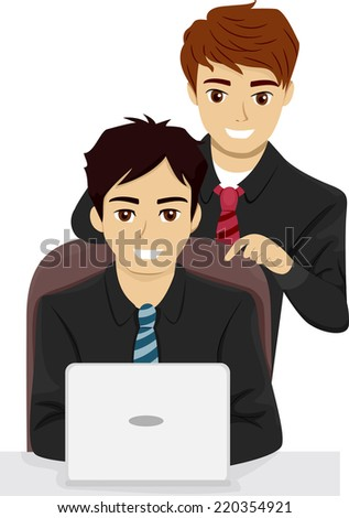Illustration Featuring a Pair of Businessmen Checking Out a Laptop