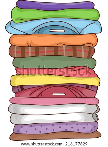 Illustration Featuring a Pile of Folded Clothes - stock vector