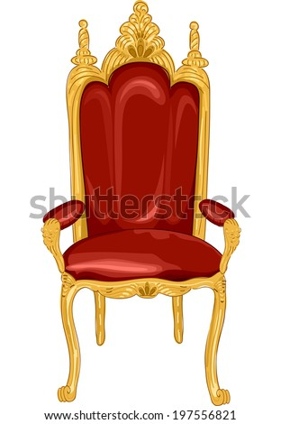 Illustration Featuring a Royal Chair in Red and Gold - stock vector