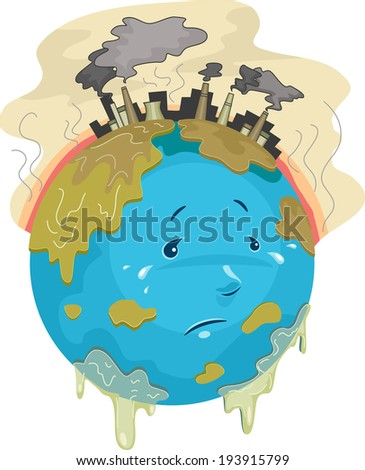 Illustration Featuring a Sad Globe with Toxic Chemicals Dripping All Over it - stock vector