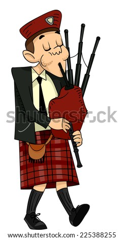 Illustration Featuring a Scot Playing the Bagpipes - stock vector