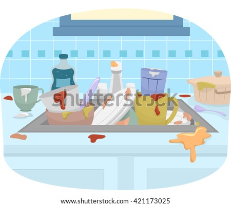 Illustration Featuring a Sink Full of Dirty Dishes - stock vector