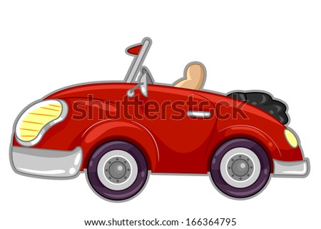 Illustration Featuring a Stylish Red Convertible Car