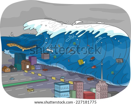 Illustration Featuring a Tsunami Engulfing a City - stock vector