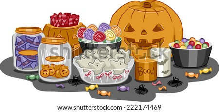Illustration Featuring a Wide Variety of Halloween Treats - stock vector