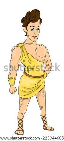 Illustration Featuring a Young and Muscular Greek God - stock vector