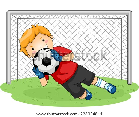 Illustration Featuring a Young Goalkeeper Catching a Soccer Ball - stock vector