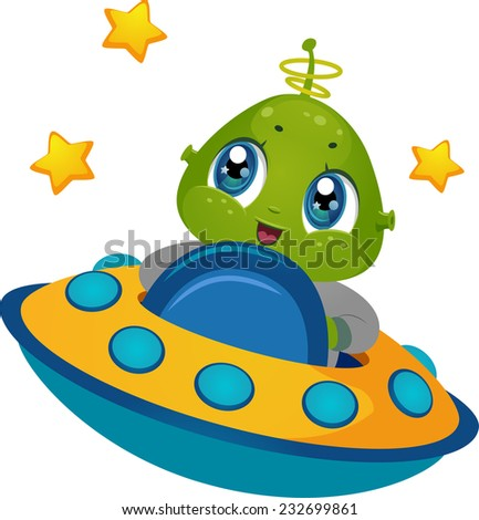 Illustration Featuring an Alien Boy Driving a Spaceship - stock vector