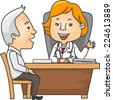 Illustration Featuring an Elderly Man Talking to His Doctor - stock photo